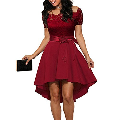 FANTIGO Womens Off Shoulder Lace Boat Neck High Low Skater Dress Wine Red M