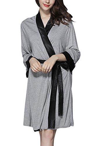 Accappatoio Dolamen Hotel Spa e Accappatoio per Pigiama Morbido leggero Cintura da Pigiama Modal Cotone Donna Grigio Uomo Robe damigella Sleepwear per d'onore notte f7fwrqxF