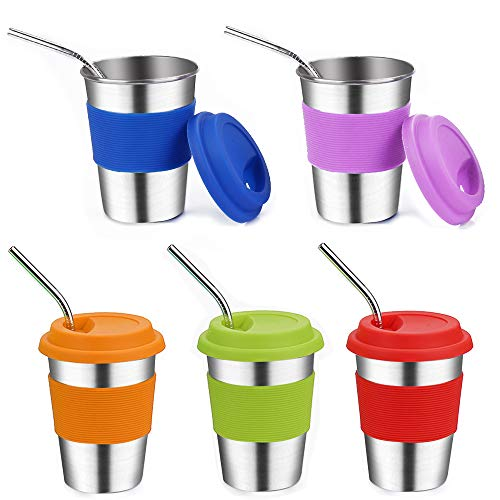Kids Stainless Steel Cups with Lids,Vermida 5 Pack 12oz Stainless Steel Straw Cups with Lids,Spill Proof Metal Kids Cups with Lids and Straws,Metal Tumblers with Lids for Kids,Toddlers 12 Ounce Kids Cup