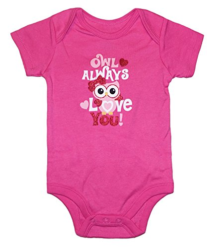 Topsville, Inc. Assorted Love & Heart Boys & Girls Valentine's Day Bodysuit Outfit (0-3 Months, Owl Always Love You!)]()
