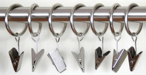 Amazon Curtain Rings With Clips Set Of 7 Nickel Rod Home Kitchen