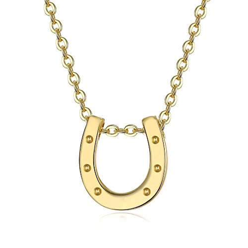 Pendent Horse (R&J Dainty 14K Gold Plated Small Horseshoe Charm Necklace (16 Inches +/- 1.5
