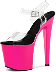 Summitfashions UV Reactive Hot Pink Neon Heels with Clear Straps and 7.5 Inch Stilettos