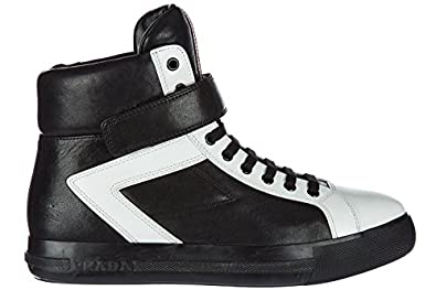 greece prada womens shoes high top leather trainers sneakers black 91126  44433 98c2d4588287