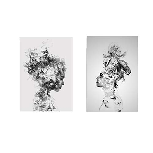 JDgoods 2PC/Set Abstract Modern Paintings, Abstract Black White Woman Man Canvas Print Art Painting Home Wall Decor Unframed (40 X 50cm)