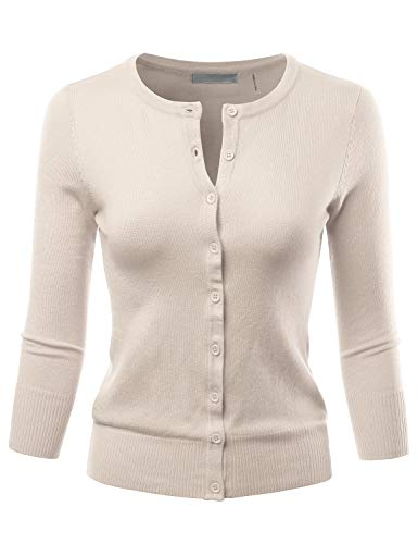 Cardigan Cotton Nylon - LALABEE Women's 3/4 Sleeve Crewneck Button Down Knit Sweater Cardigan Oatmeal S