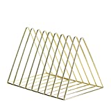 LQ Book Stand, Electroplated Bookend Desk Organizer Desktop Office Home Bookends Book Holder (Color : Golden)