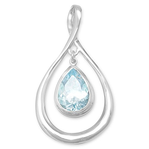 Precious Stars Jewelry Sterling Silver Pear-Shape Blue Topaz Drop Slide Pendant