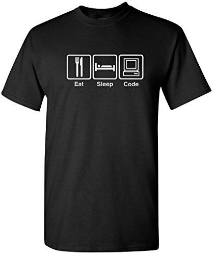 EatSleepTee Men's Eat Sleep Code T-Shirt Funny Programmer Tee Large Black