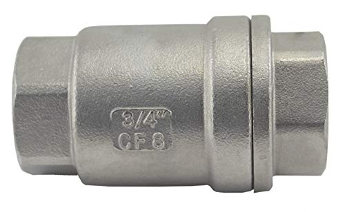 Duda Energy VCV-WOG1000-F075 Vertical Check Valve, 304 Stainless Steel, 3/4 NPT Spring Loaded in-line Low Cracking Pressure.75