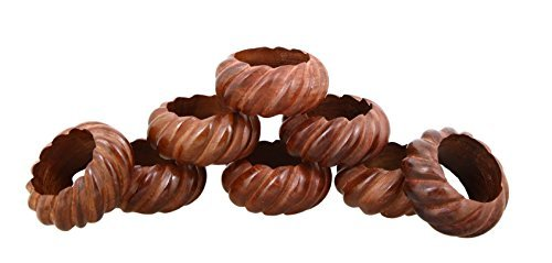 Shalinindia Handmade Party Decor Wooden Napkin Rings Set of 8 for Table Dinner Decoration
