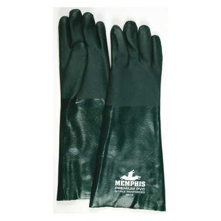 Gloves, PVC, L, 18 in. L, Jersey, PR, PK12