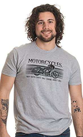 Motorcycles. See? Guys Don't Only Think about Sex | Funny Bike Mechanic T-shirt-(Adult,L) - Ancient Gear Workshop
