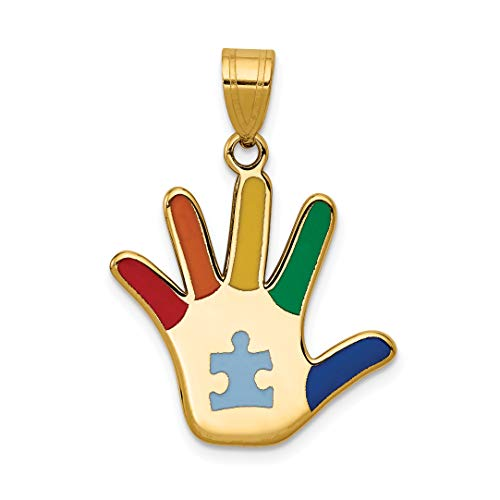 14k Yellow Gold Multi Color Autism Hand Print Pendant With Puzzle Piece 20x20mm