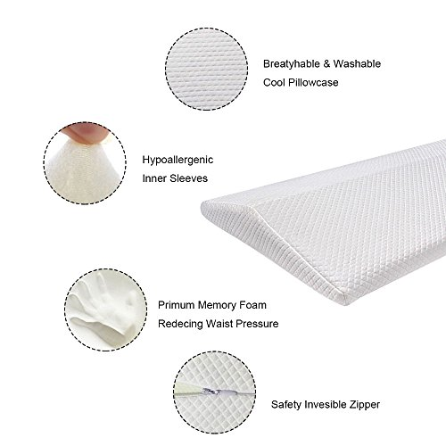bokemar Long Sleeping Pillow for Lower Back Pain Multifunctional Memory Foam Orthopedic Super Lumbar Support Cushion for Hip,Knee,Spine Alignment and Sciatic Nerve Pain Relief