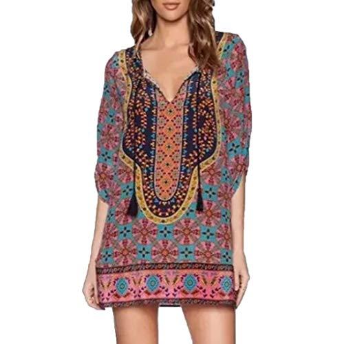 Botrong Summer Dresses for Women Plus Size V Neck Easy Retro Printed Tassel Dress (Multicolor,XXXXXL) ()