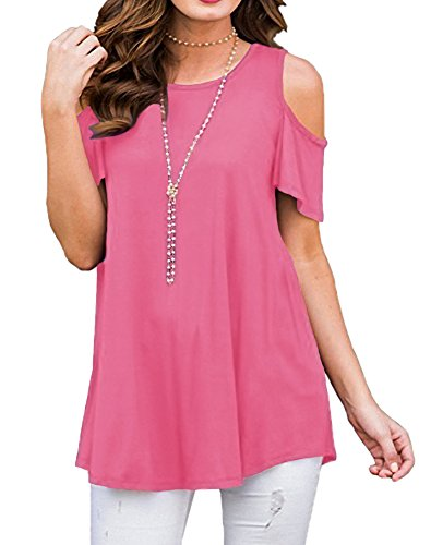 Afibi Womens Cold Shoulder Half Sleeve Swing Tunic Tops for Leggings (XX-Large, (Easy Womens Pink T-shirt)