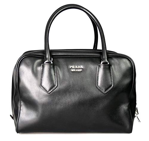 Prada Womens Soft Calf Inside Tote - Black/Blue Leather