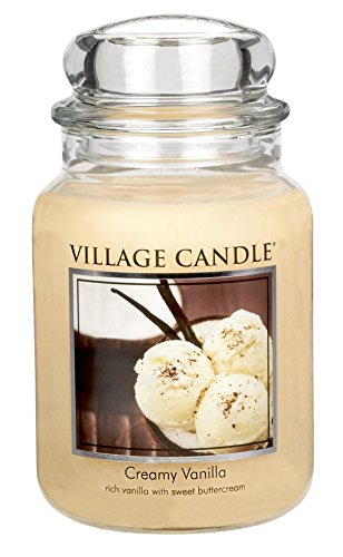 Ice Cream Scented Candle - Village Candle Creamy Vanilla 26 oz Glass Jar Scented Candle, Large