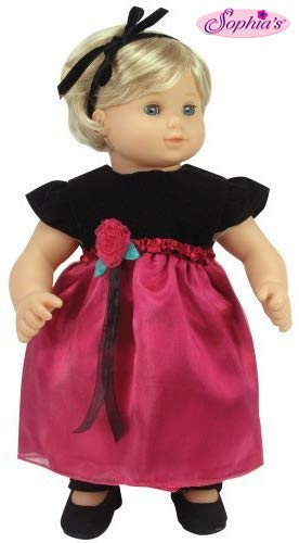 Sophia's 15 Inch Baby Doll Dress & Headband Set, Baby Doll Clothing Fits 15 Inch American Girl Bitty Baby Dolls & More! Black & Berry Holiday Dress & Headband | Gift Bag Included