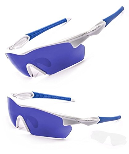 Ocean Sunglasses - Polarized Sports Sun Glasses For Men and Women - Protective Eyewear For Cycling, Running, Fishing, Baseball, Golf - 100% UV Protection - Tour (White and Blue w/ - 2014 Sunglasses Best Golf