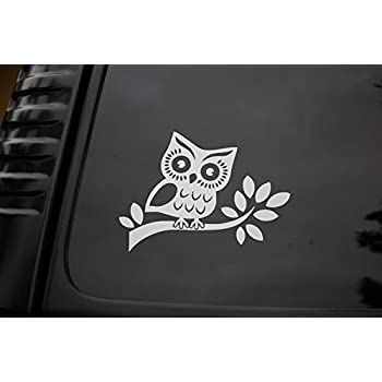 Owl sticker vinyl cut out decal cute car truck window laptop hoot pick size v67