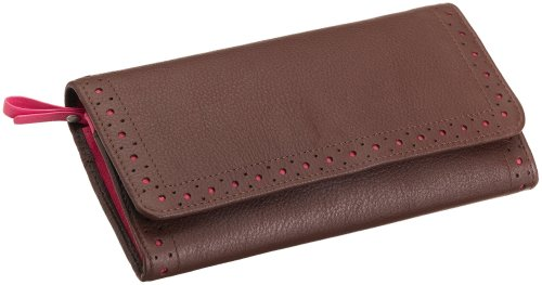 Cross Autocross AC204-9A Women's Money Wallet Collection Slim Envelope Wallet (Brown/Pink), Bags Central