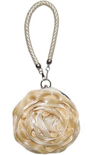 Chicastic Small Flower Shaped Wristlet Wedding Evening Flower Girl Clutch Purse - (Satin Girls Handbag)