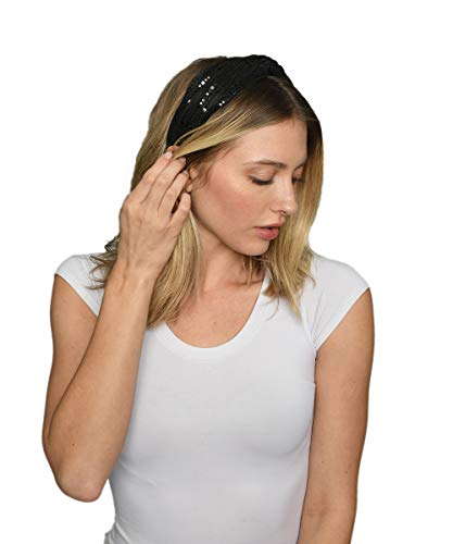 - Black Sequin Twist Headband-Lulla Collection