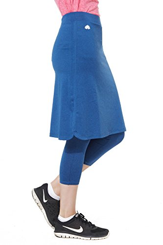 Snoga Modest Workout Athleisure Skirt With 3/4 Leggings Indigo, 1X