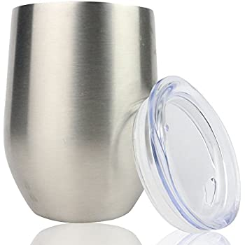b2f20293b9e Stainless Steel Stemless Wine Glass Tumbler with Lid (Set of Two), 14 oz