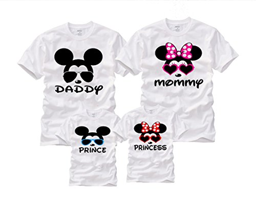 Wonder Labs Mickey Minnie Matching Family Cool Mouse Disney Shirts T-Shirt (X-Large, Daddy White) (Family Mickey Mouse Shirts)