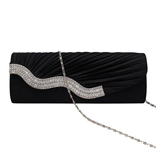 Satin Clutch Prom Wave Handbag apricot Shaped Party Design Wiwsi Flap Wedding Crystal ZEzgwxAq