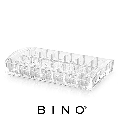 BINO Non-Stop' 26 Compartment Acrylic Lipstick and Nail Polish Organizer, Clear and Transparent Cosmetic Beauty Vanity Holder Storage