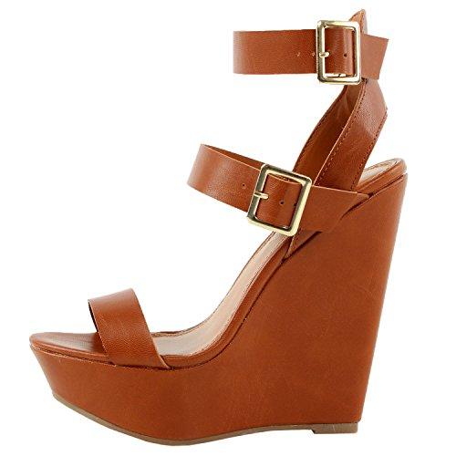 Breckelles Valery-11 Platform Sandals, Tan Pu, 8.5