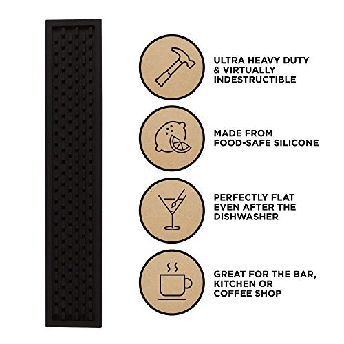 Heavy Duty Silicone Bar Service Mat: (3.25'' x 18'') Food safe, Commercial Strength Bar & Restaurant Service Mat by Top Shelf Bar Supply (Image #1)