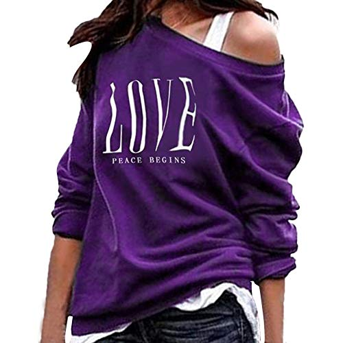 - TUSANG Womens Letter Print Long Sleeve Skew Collar Pullover Sweatshirts Loose Fit Tops Blouses(Purple,XL)