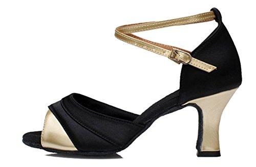 Dance Buckle Samba Latin Gold Salsa Satin TDA Modern Toe Black Peep Shoes 7cm Tango Womens Comfortable nSTwcqfxPB