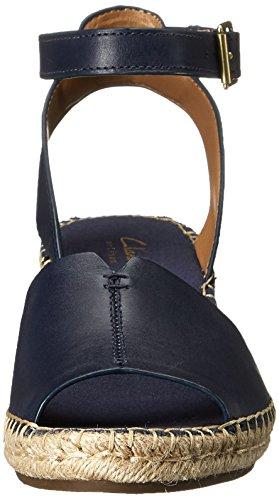 CLARKS Petrina Gabon Sandalias de Cuña de La Mujer Azul marino (navy leather)