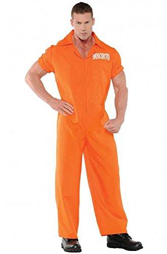 Pig Cop Costume (Convicted Prisoner Inmate Orange Jumpsuit Men Adult Costume)