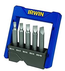 Irwin 1865327, Conjunto de Pontas para Parafusadeira Power Bits Fenda de 5 Peças, Prata e Azul