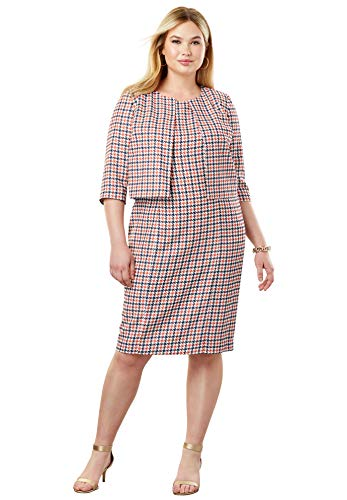 Jessica London Women's Plus Size Printed Jacket Dress - Multi Houndstooth, 26