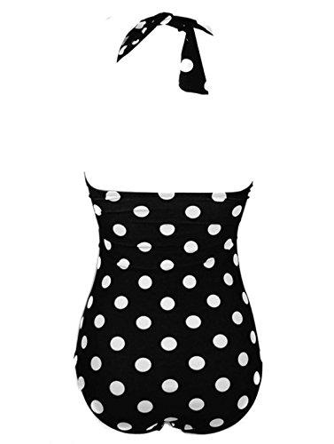 ThumbLike Womens 50s Retro Vintage White Polka One Piece Swimsuit Monokinis Black (S)
