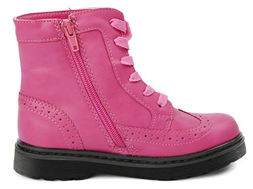 Image of JELLY BEANS Cloe Girls Wingtip Hiking Ankle Boots Side Zipper Pink 2