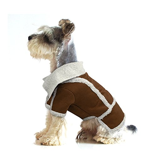 Didog Cute Faux Suede Fleece Puppy Dog Warm Jackets Coats for Cold Weather,Christmas,Brown,M (Suede Dog Coat Jacket Clothes)