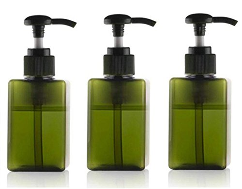 100ml/3.4oz Empty Plastic Pump Bottles Jars Refillable Toiletries Liquid Containers Bathroom Accessories (3 Pack) for Makeup Cosmetic Liquid Soap Bath Shower Shampoo Hair-Conditioner (Green)