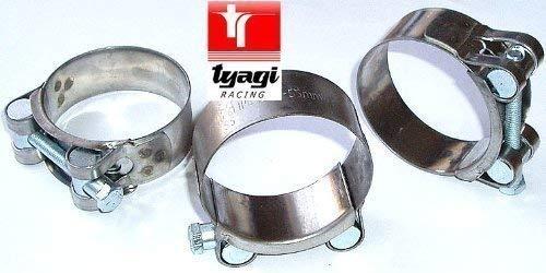 Tyagi Racing Abrazadera de Escape de Acero Inoxidable Resistente Turbo Abrazaderas W2 tama/ño 51 mm a 55 mm