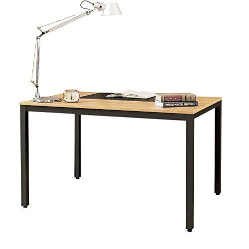DlandHome Escritorios Mesa de Conferencia 138x55cm Mesa Multiproposito Mesa Salon/de Comedor/Mesa de Despacho Escritorio de Oficina,Teca & Nero