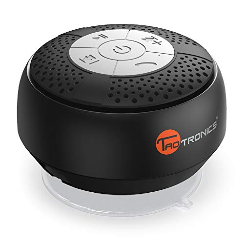 TaoTronics Bluetooth Shower Speaker, Water Resistant Portable Wireless Shower Speaker (Solid Suction Cup, Control Buttons)