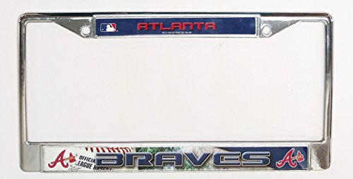 Atlanta Braves Sports Plate - Atlanta Braves Field Design LBL Chrome Frame Metal License Plate Tag Cover